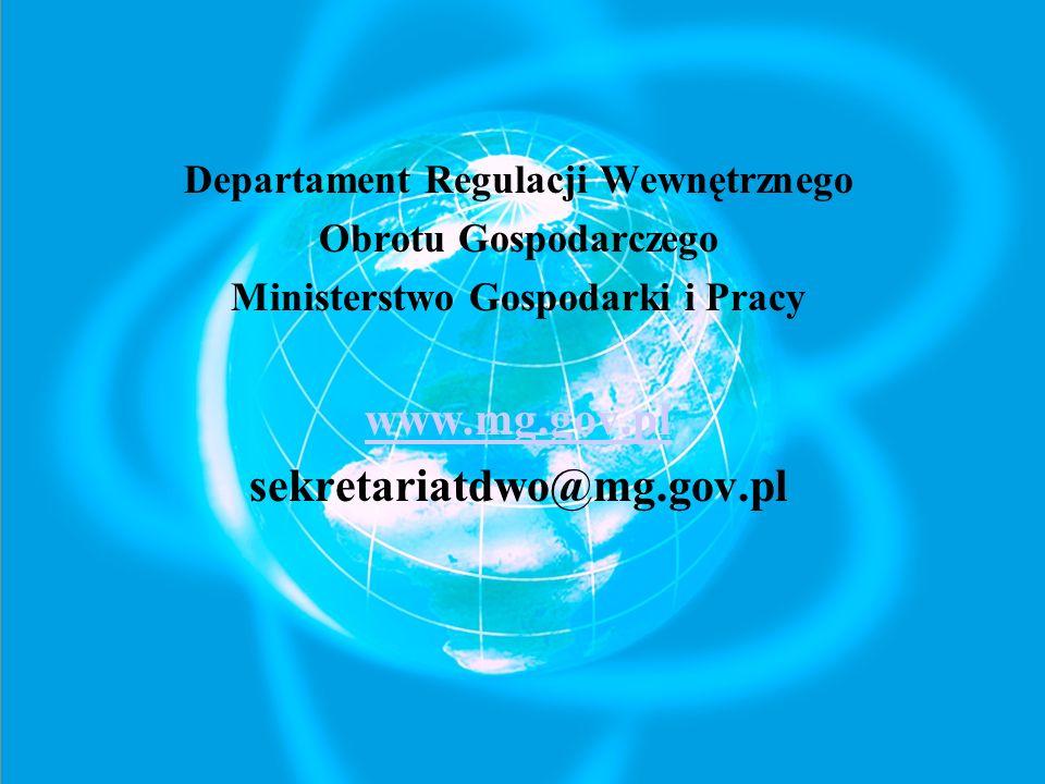 Departament Regulacji Wewnętrznego Ministerstwo Gospodarki i Pracy