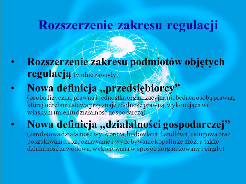 Rozszerzenie zakresu regulacji