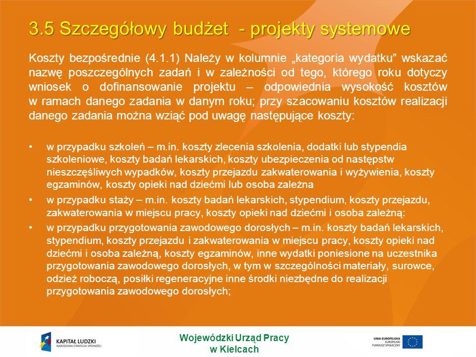 3.5 Szczegółowy budżet - projekty systemowe