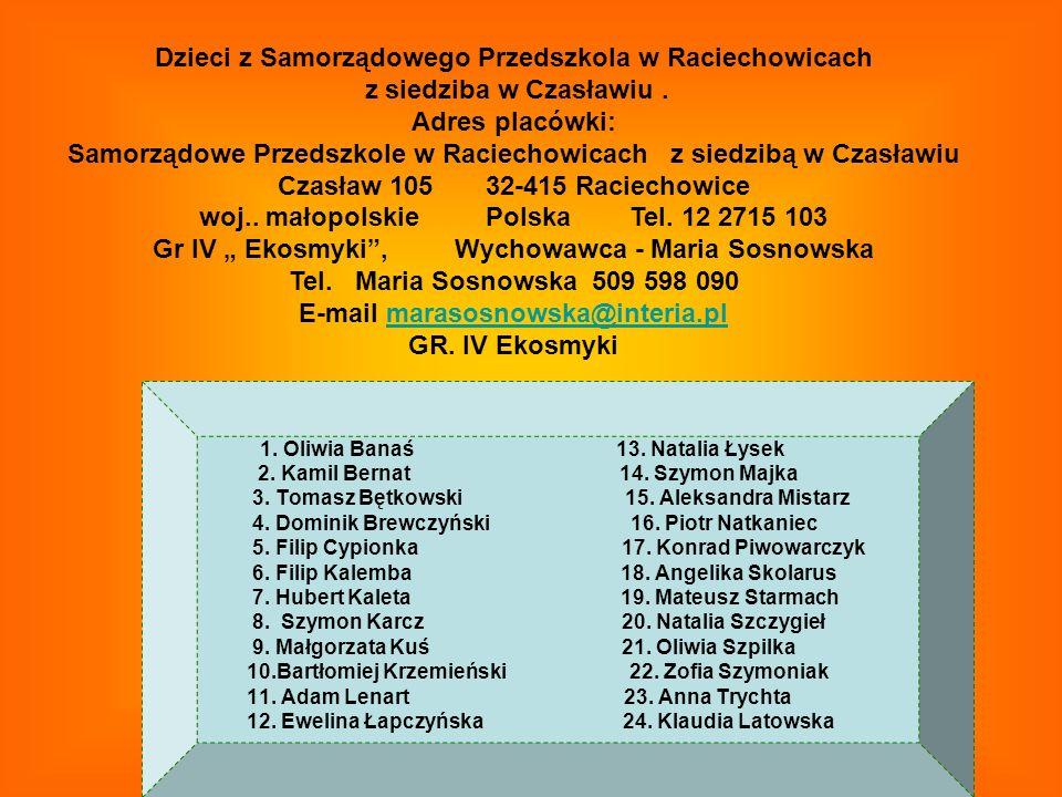 Dzieci z Samorządowego Przedszkola w Raciechowicach