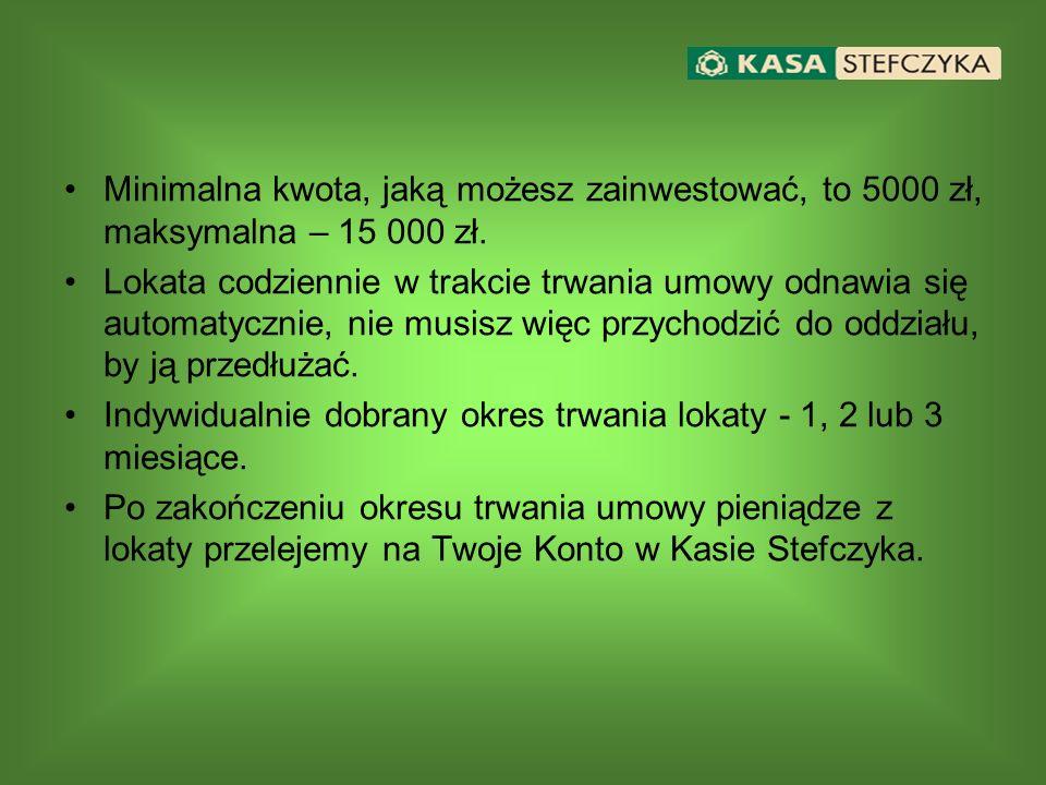 Minimalna kwota, jaką możesz zainwestować, to 5000 zł, maksymalna – 15 000 zł.