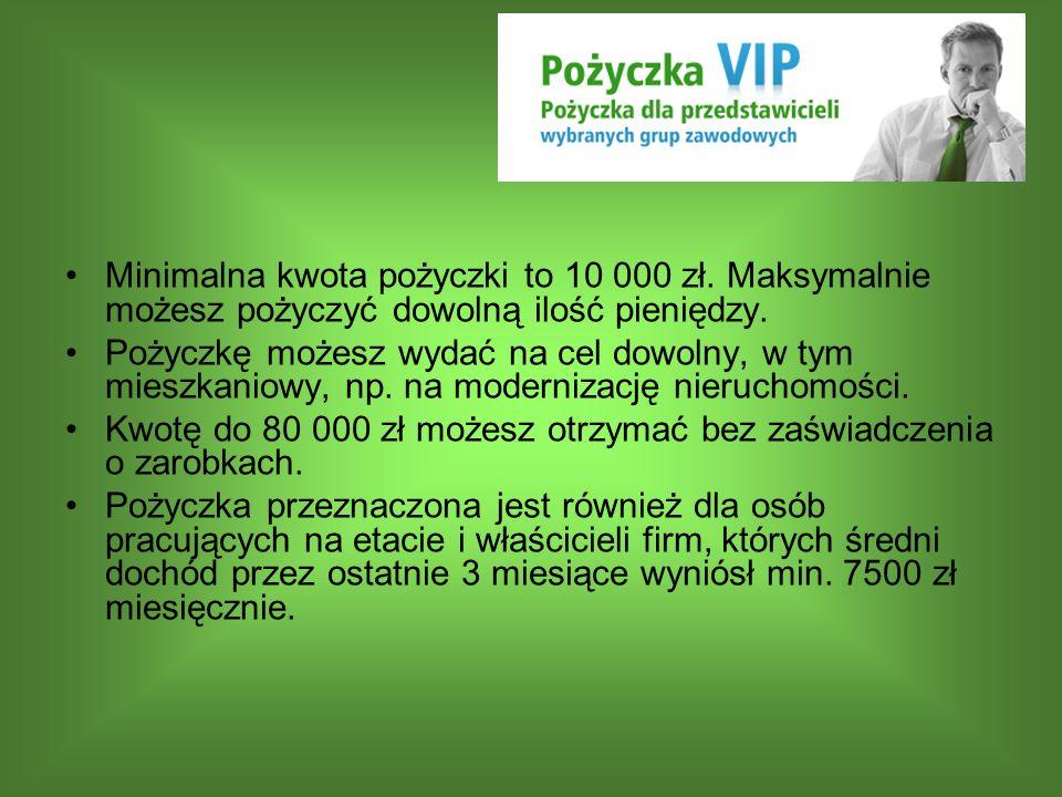 Minimalna kwota pożyczki to 10 000 zł