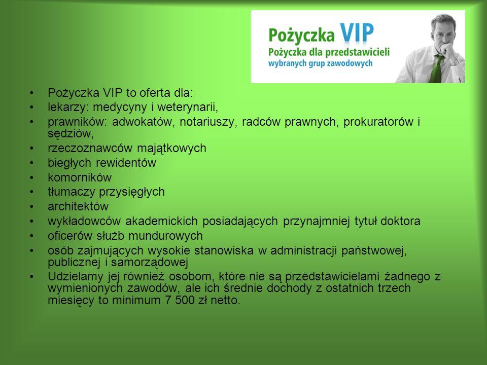 Pożyczka VIP to oferta dla: