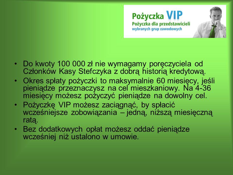 Do kwoty 100 000 zł nie wymagamy poręczyciela od Członków Kasy Stefczyka z dobrą historią kredytową.