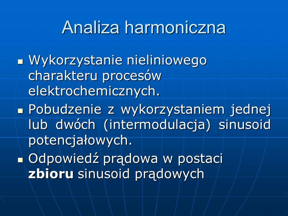 Analiza harmoniczna Wykorzystanie nieliniowego charakteru procesów elektrochemicznych.