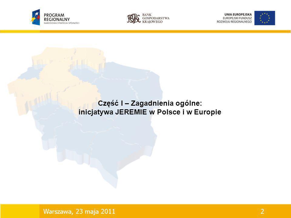 Część I – Zagadnienia ogólne: inicjatywa JEREMIE w Polsce i w Europie