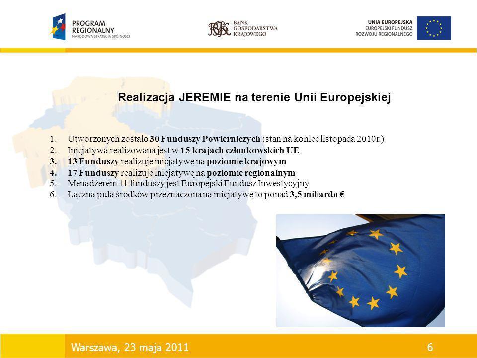 Realizacja JEREMIE na terenie Unii Europejskiej
