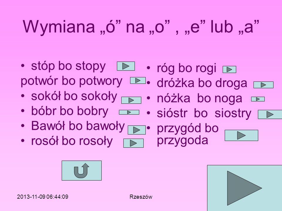 """Wymiana """"ó na """"o , """"e lub """"a"""