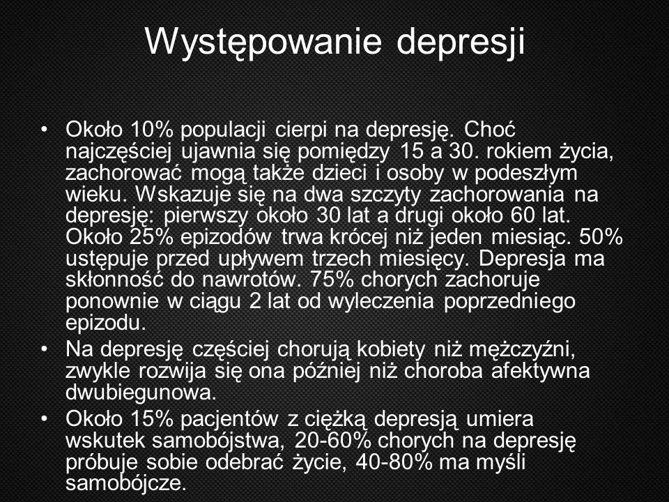 Występowanie depresji