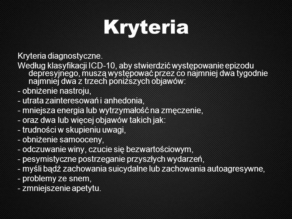 Kryteria Kryteria diagnostyczne.
