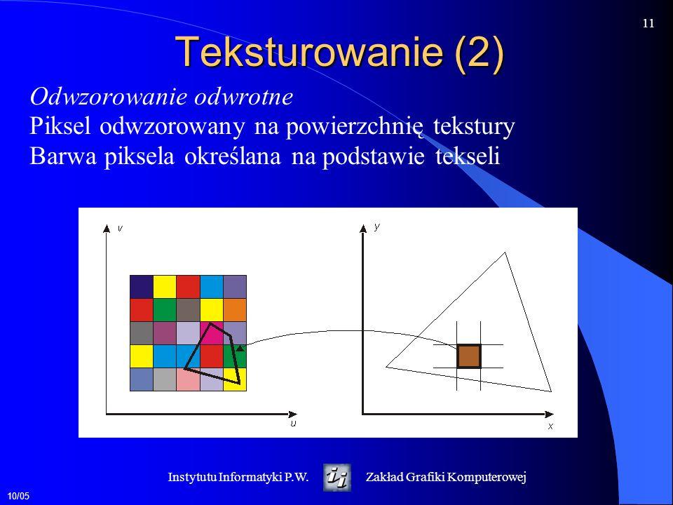 Teksturowanie (2) Odwzorowanie odwrotne