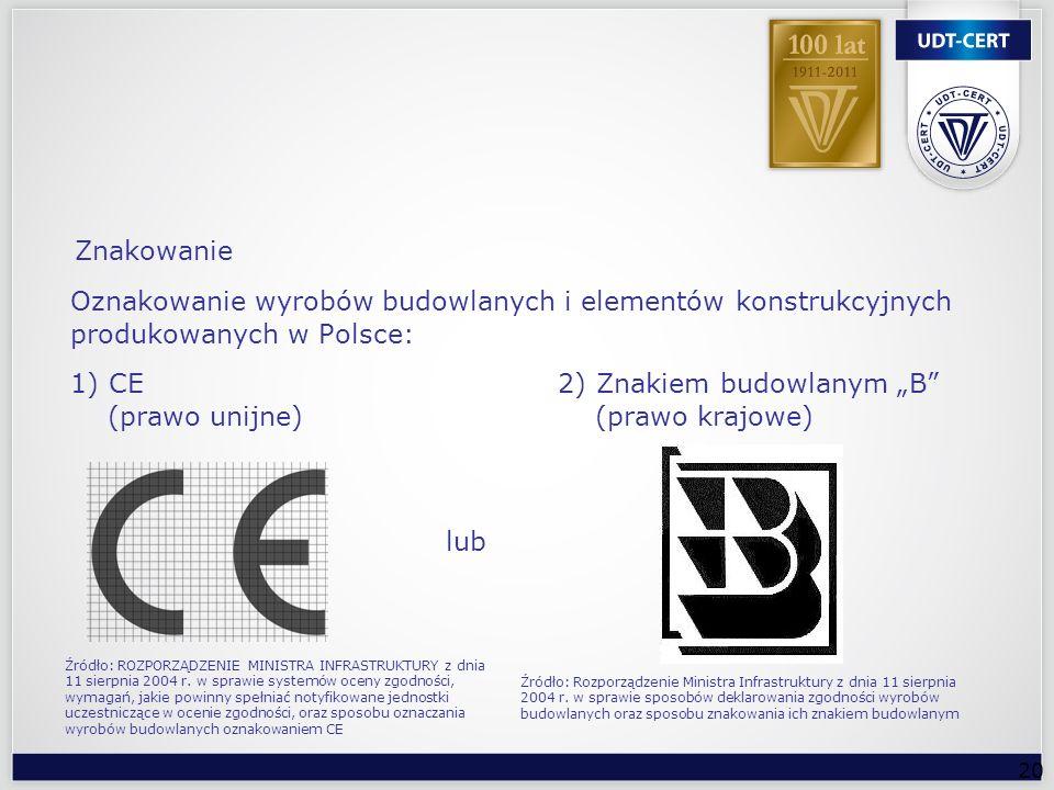 """1) CE 2) Znakiem budowlanym """"B (prawo unijne) (prawo krajowe)"""
