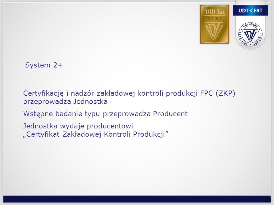 System 2+ Certyfikację i nadzór zakładowej kontroli produkcji FPC (ZKP) przeprowadza Jednostka. Wstępne badanie typu przeprowadza Producent.