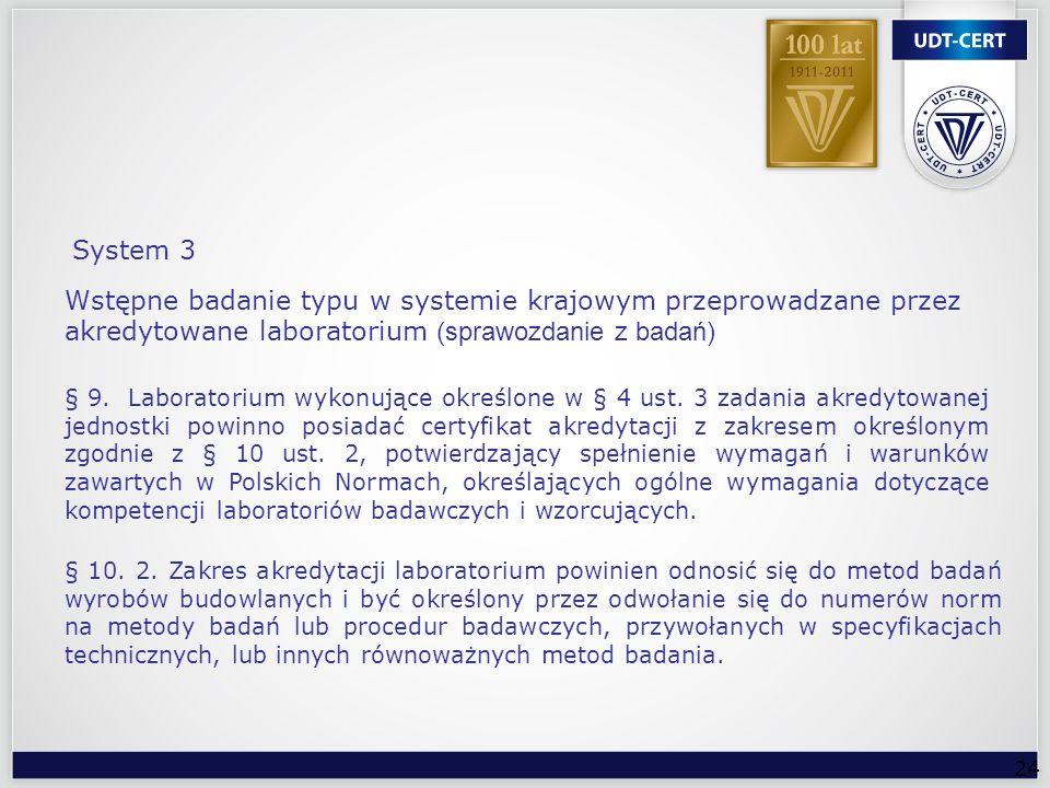 System 3 Wstępne badanie typu w systemie krajowym przeprowadzane przez akredytowane laboratorium (sprawozdanie z badań)