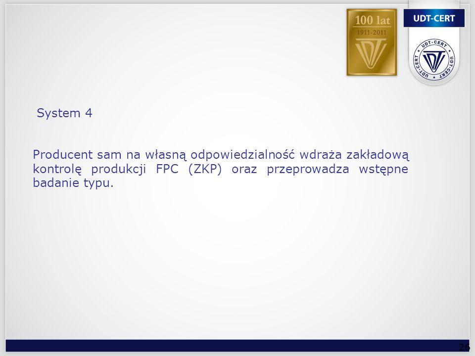 System 4 Producent sam na własną odpowiedzialność wdraża zakładową kontrolę produkcji FPC (ZKP) oraz przeprowadza wstępne badanie typu.