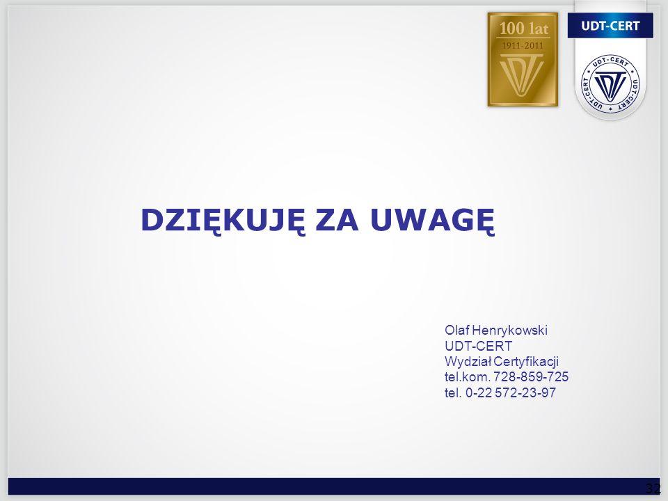 DZIĘKUJĘ ZA UWAGĘ Olaf Henrykowski UDT-CERT Wydział Certyfikacji