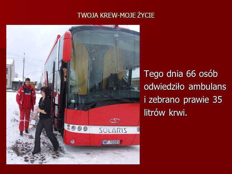 Tego dnia 66 osób odwiedziło ambulans i zebrano prawie 35 litrów krwi.