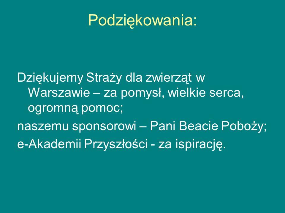 Podziękowania:Dziękujemy Straży dla zwierząt w Warszawie – za pomysł, wielkie serca, ogromną pomoc;