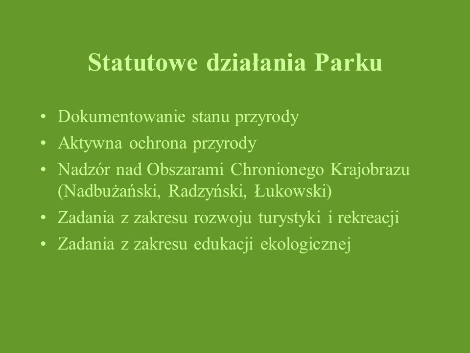 Statutowe działania Parku