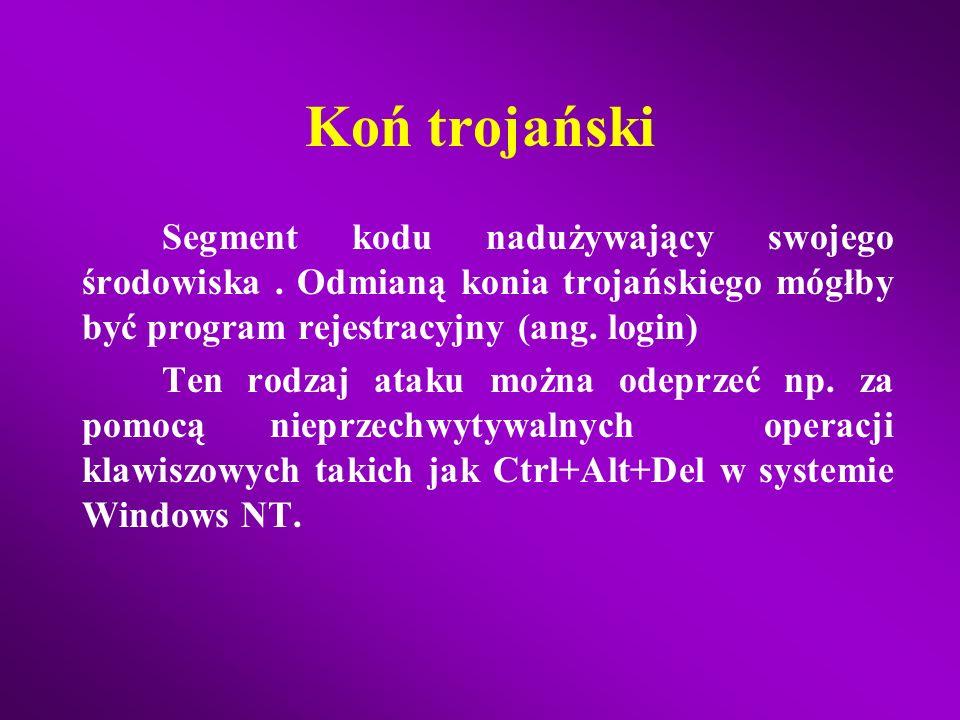 Koń trojański Segment kodu nadużywający swojego środowiska . Odmianą konia trojańskiego mógłby być program rejestracyjny (ang. login)