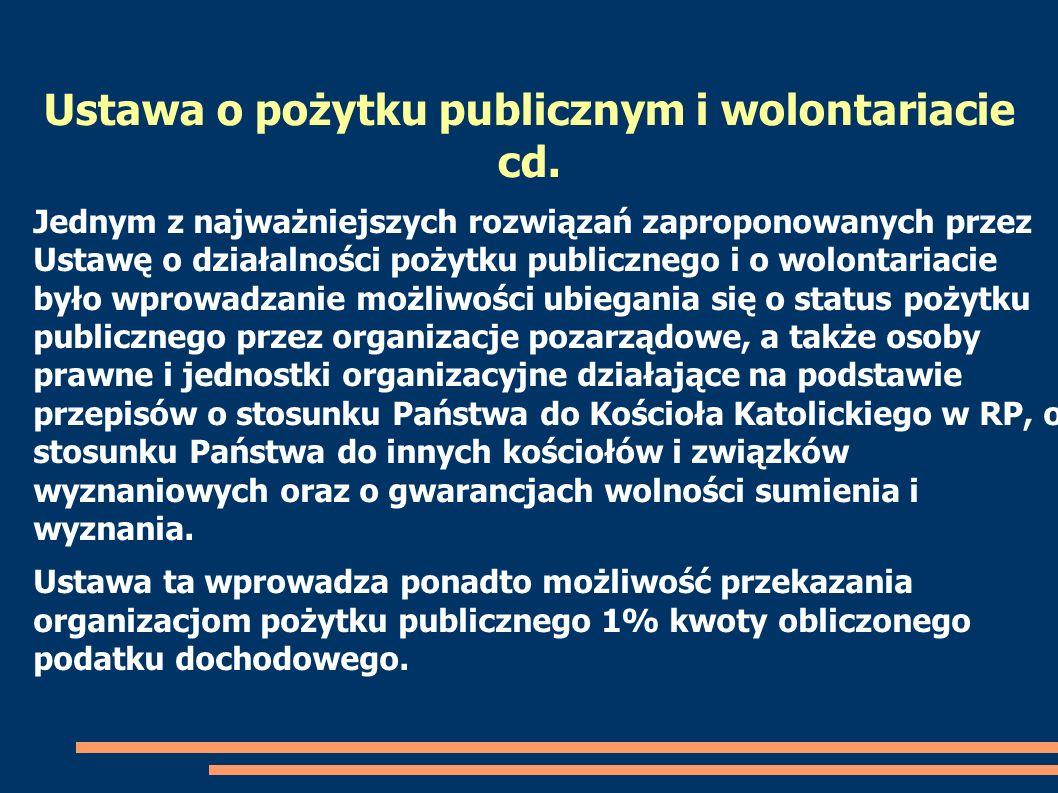 Ustawa o pożytku publicznym i wolontariacie cd.