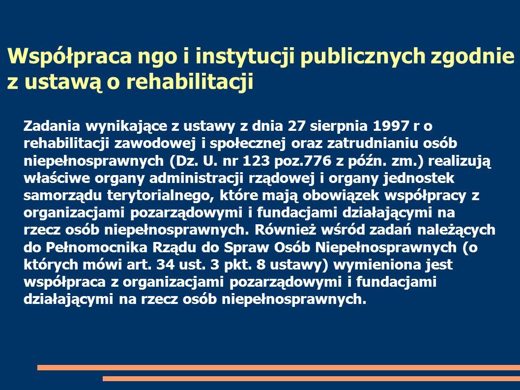 Współpraca ngo i instytucji publicznych zgodnie z ustawą o rehabilitacji