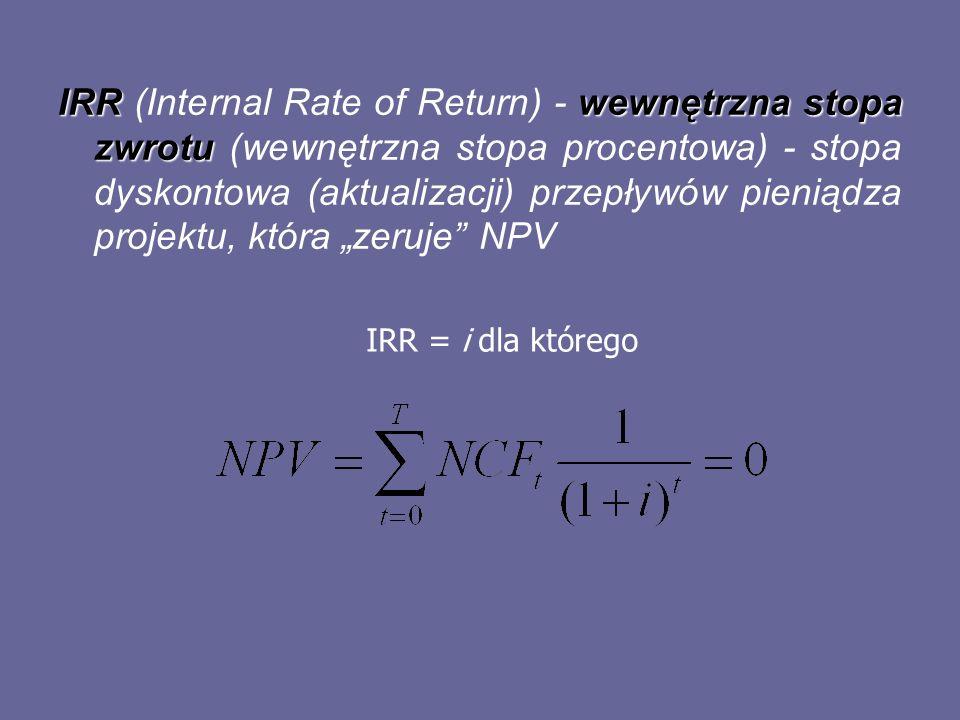 """IRR (Internal Rate of Return) - wewnętrzna stopa zwrotu (wewnętrzna stopa procentowa) - stopa dyskontowa (aktualizacji) przepływów pieniądza projektu, która """"zeruje NPV"""
