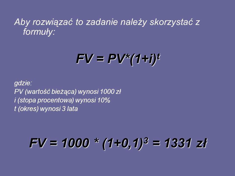 FV = PV*(1+i)t FV = 1000 * (1+0,1)3 = 1331 zł