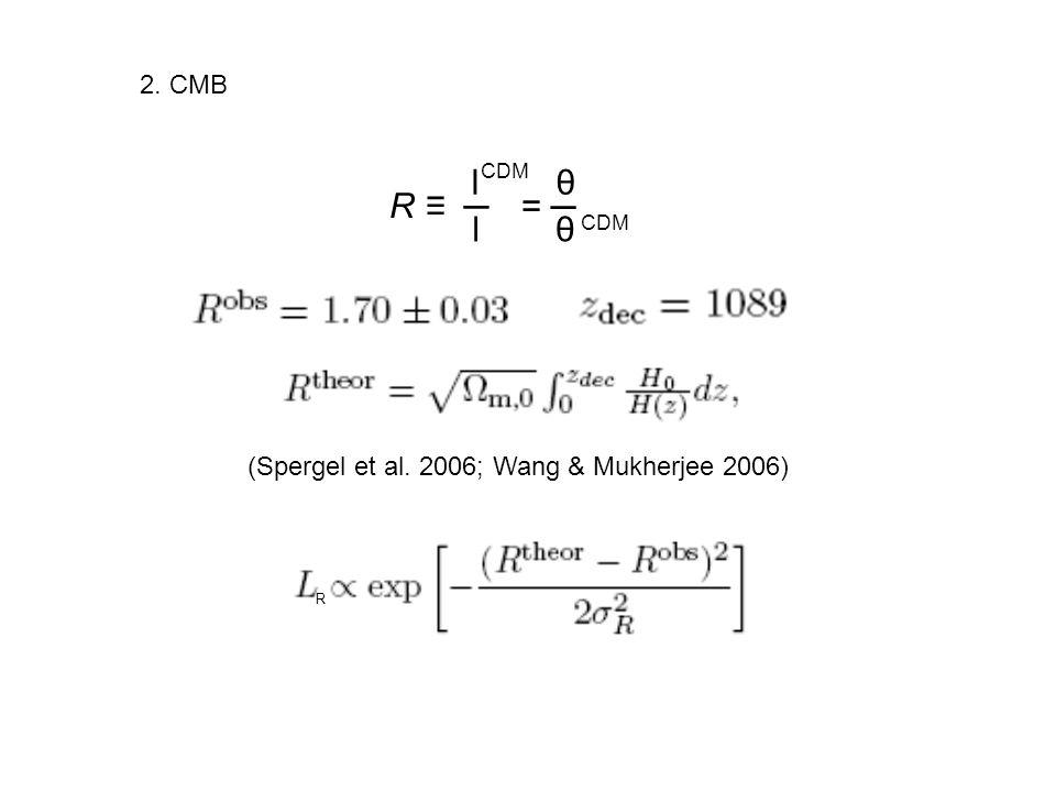 R ≡ ─ l θ = ─ l θ 2. CMB (Spergel et al. 2006; Wang & Mukherjee 2006)