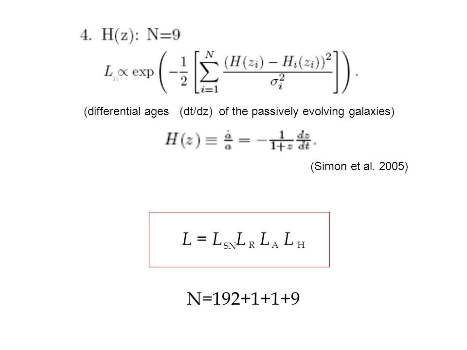 H(differential ages (dt/dz) of the passively evolving galaxies) (Simon et al. 2005) L = L L L L.