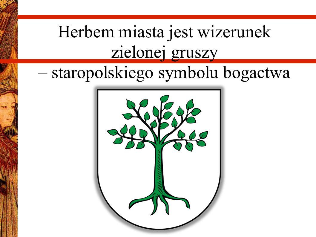 Herbem miasta jest wizerunek zielonej gruszy – staropolskiego symbolu bogactwa