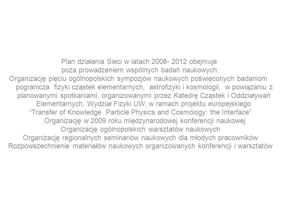 Plan działania Sieci w latach 2008- 2012 obejmuje