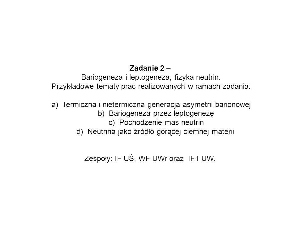 Bariogeneza i leptogeneza, fizyka neutrin.