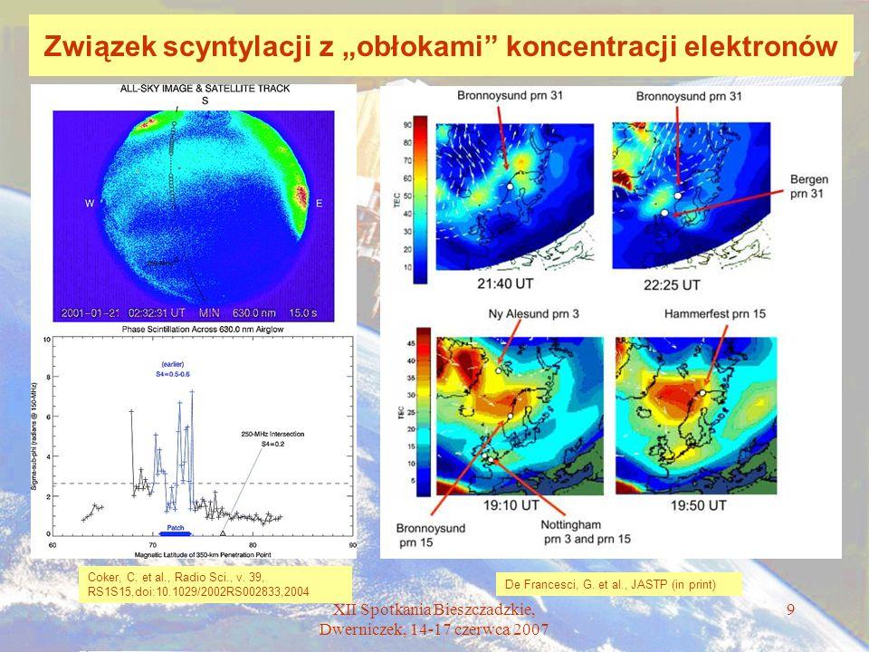 """Związek scyntylacji z """"obłokami koncentracji elektronów"""