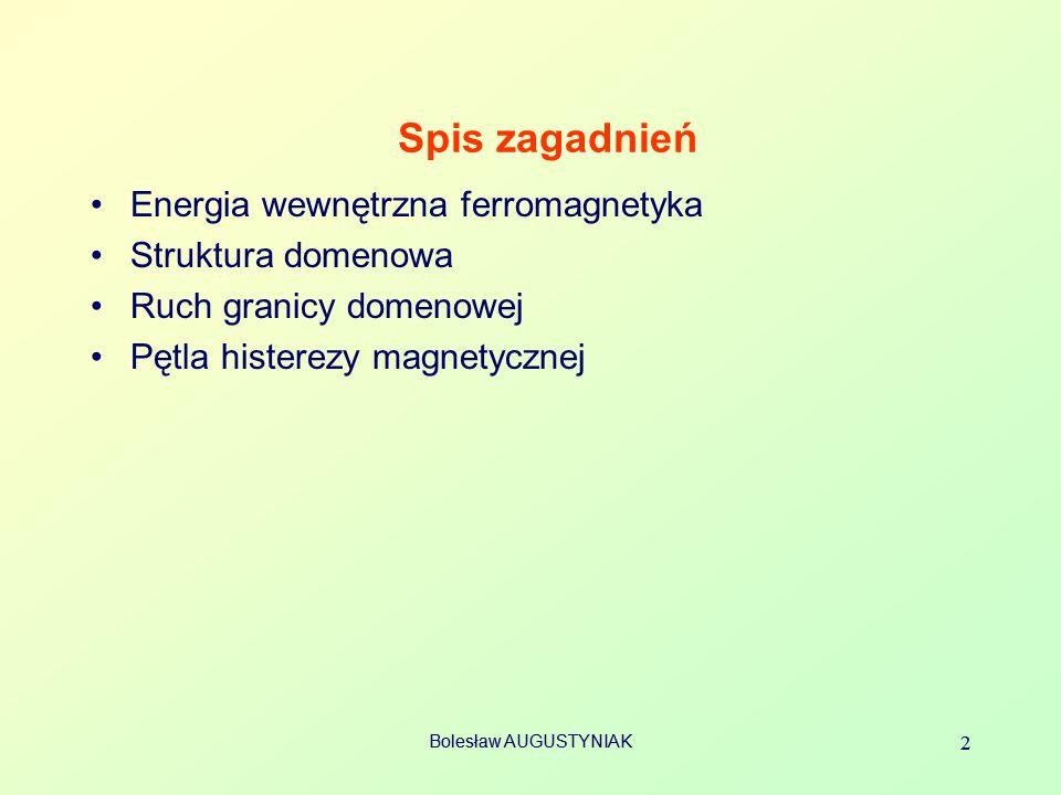 Spis zagadnień Energia wewnętrzna ferromagnetyka Struktura domenowa