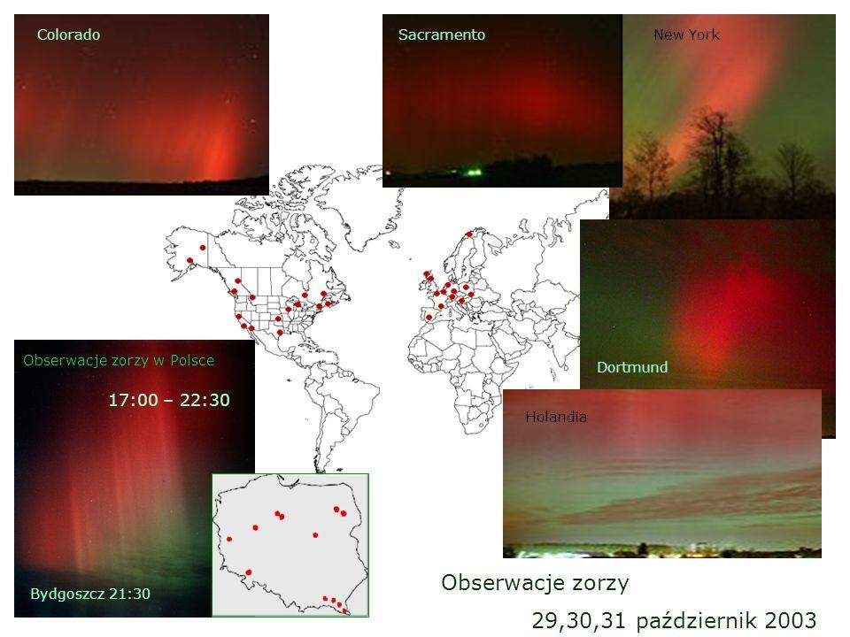 Obserwacje zorzy 29,30,31 październik 2003 17:00 – 22:30 Colorado