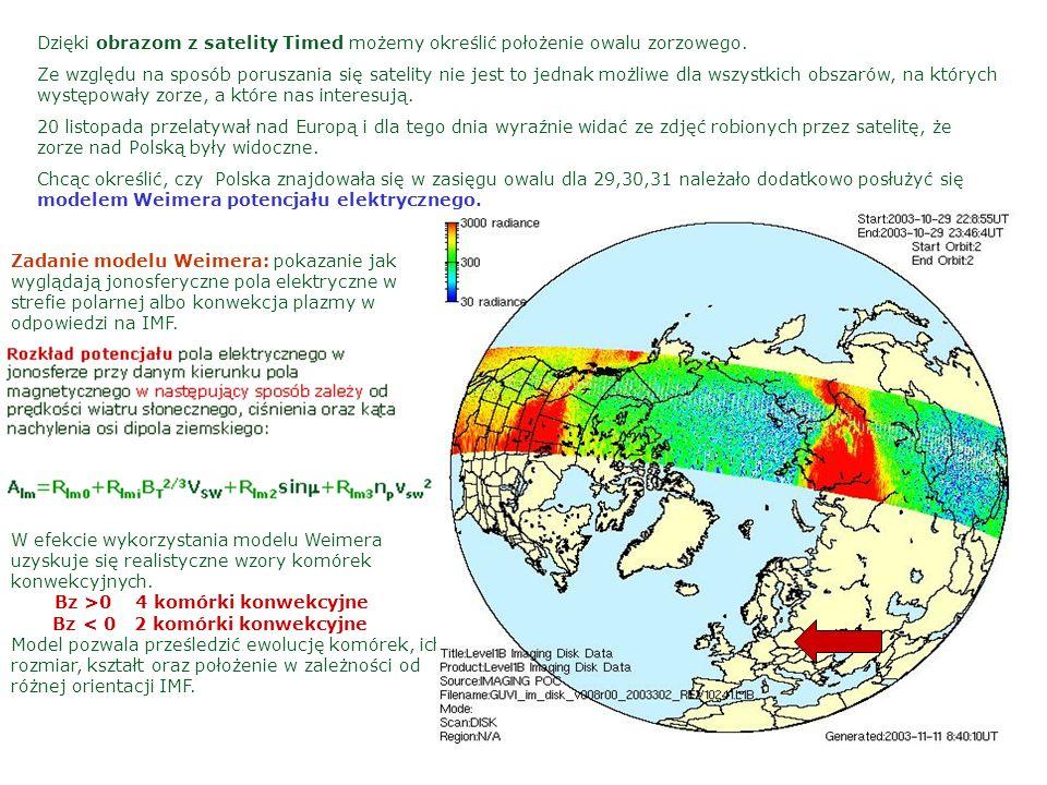 Dzięki obrazom z satelity Timed możemy określić położenie owalu zorzowego.