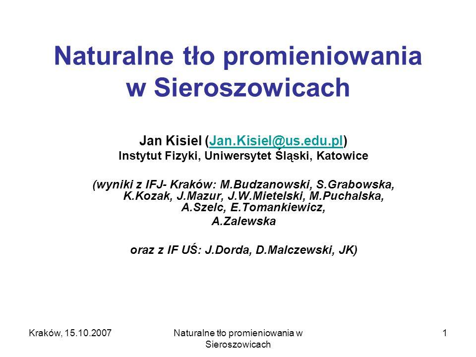 Naturalne tło promieniowania w Sieroszowicach