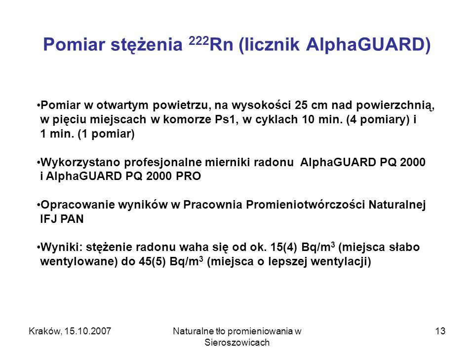 Pomiar stężenia 222Rn (licznik AlphaGUARD)
