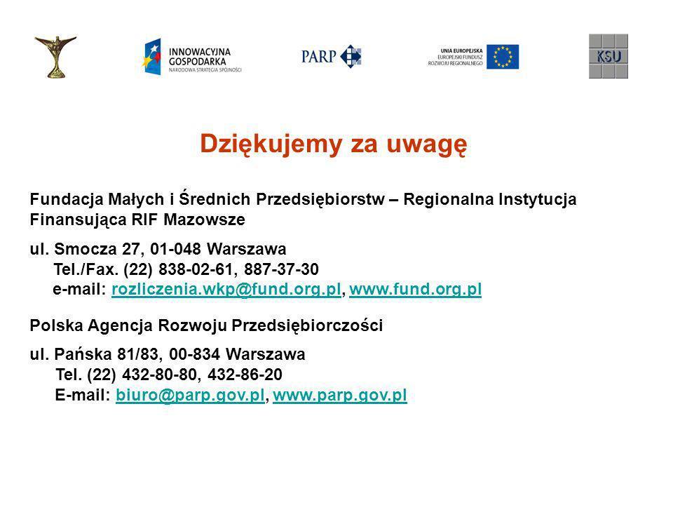 Dziękujemy za uwagę Fundacja Małych i Średnich Przedsiębiorstw – Regionalna Instytucja. Finansująca RIF Mazowsze.