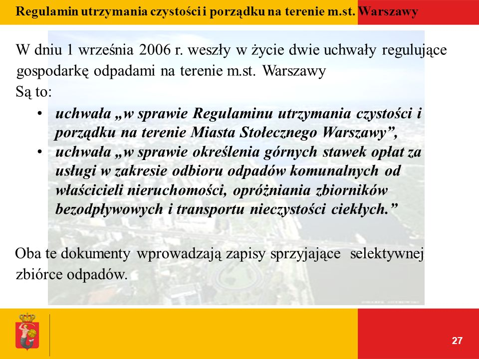 Regulamin utrzymania czystości i porządku na terenie m.st. Warszawy