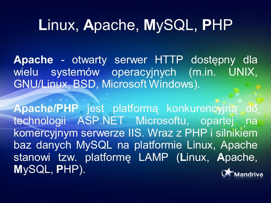 Linux, Apache, MySQL, PHP Apache - otwarty serwer HTTP dostępny dla wielu systemów operacyjnych (m.in. UNIX, GNU/Linux, BSD, Microsoft Windows).
