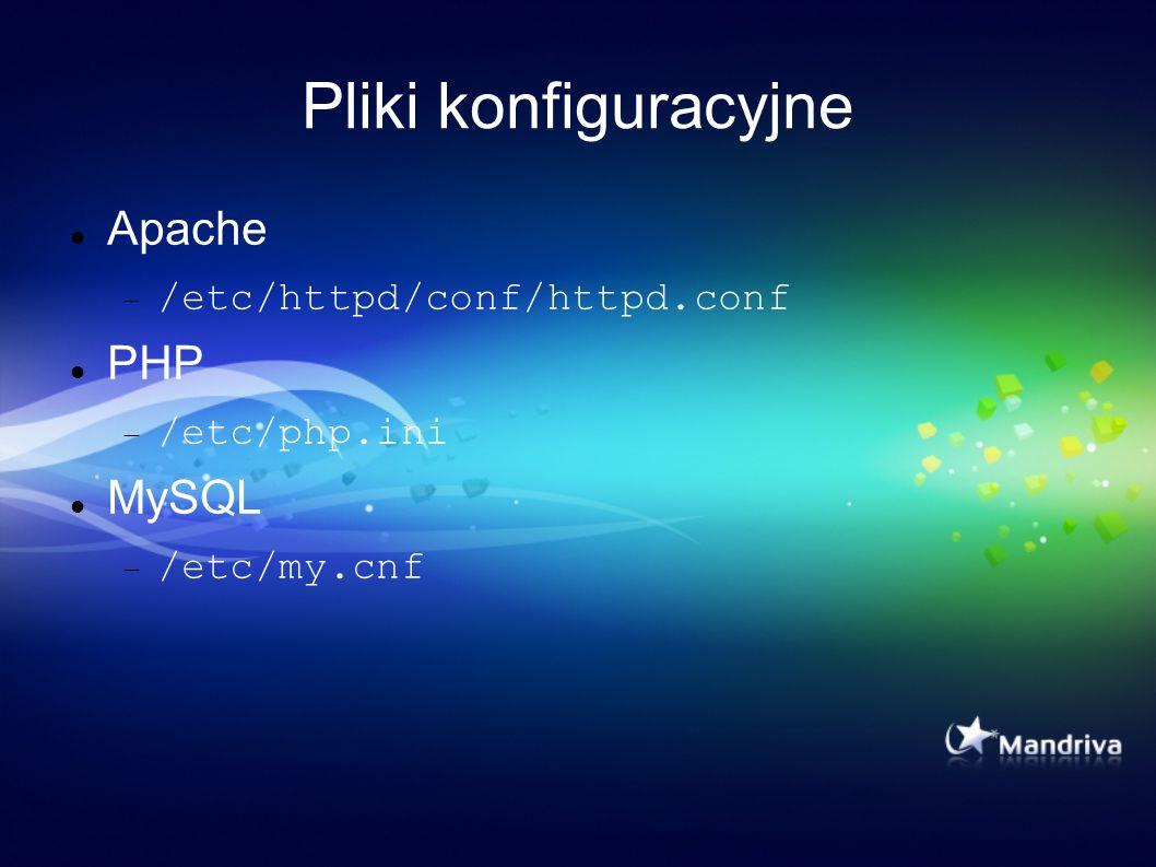 Pliki konfiguracyjne Apache PHP MySQL /etc/httpd/conf/httpd.conf
