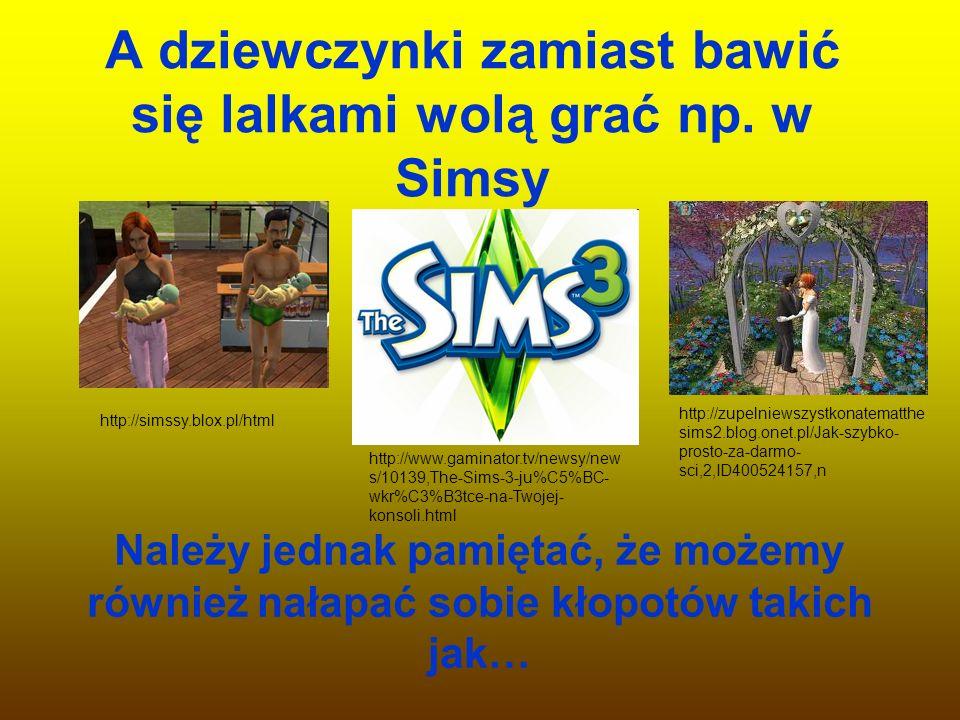 A dziewczynki zamiast bawić się lalkami wolą grać np. w Simsy
