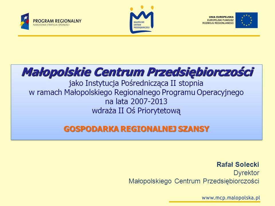 Małopolskie Centrum Przedsiębiorczości GOSPODARKA REGIONALNEJ SZANSY