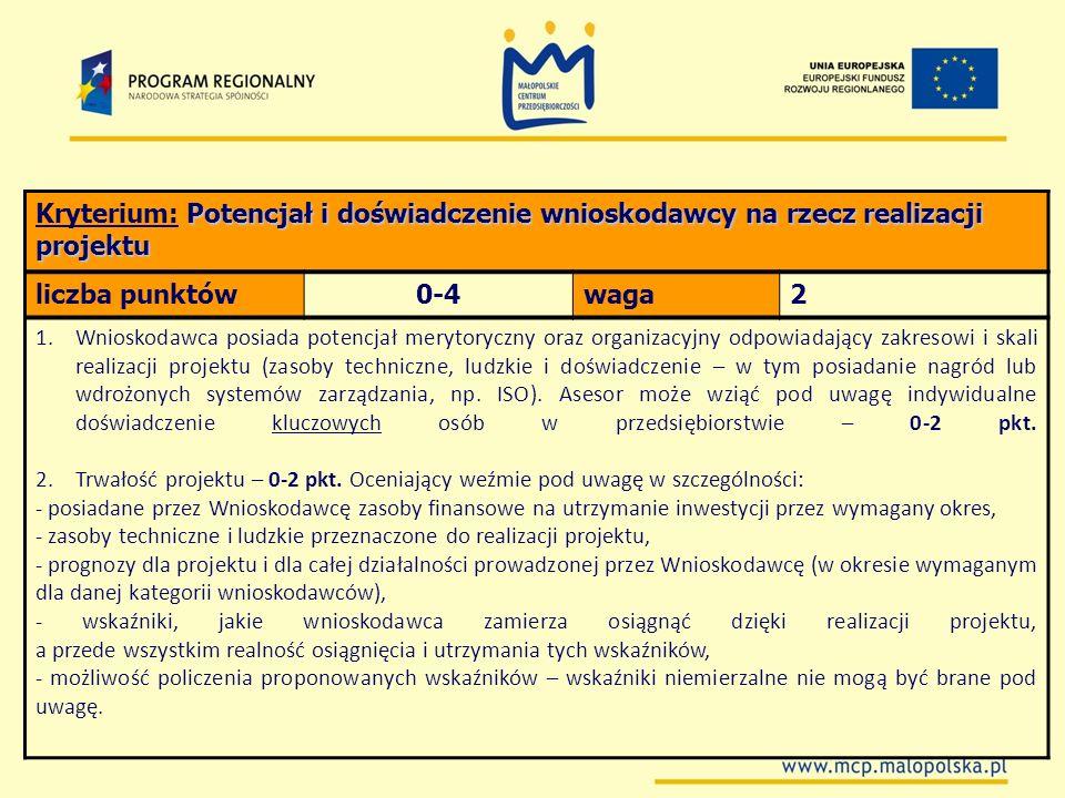 Kryterium: Potencjał i doświadczenie wnioskodawcy na rzecz realizacji projektu