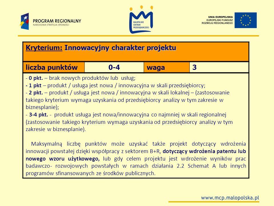 Kryterium: Innowacyjny charakter projektu liczba punktów 0-4 waga 3