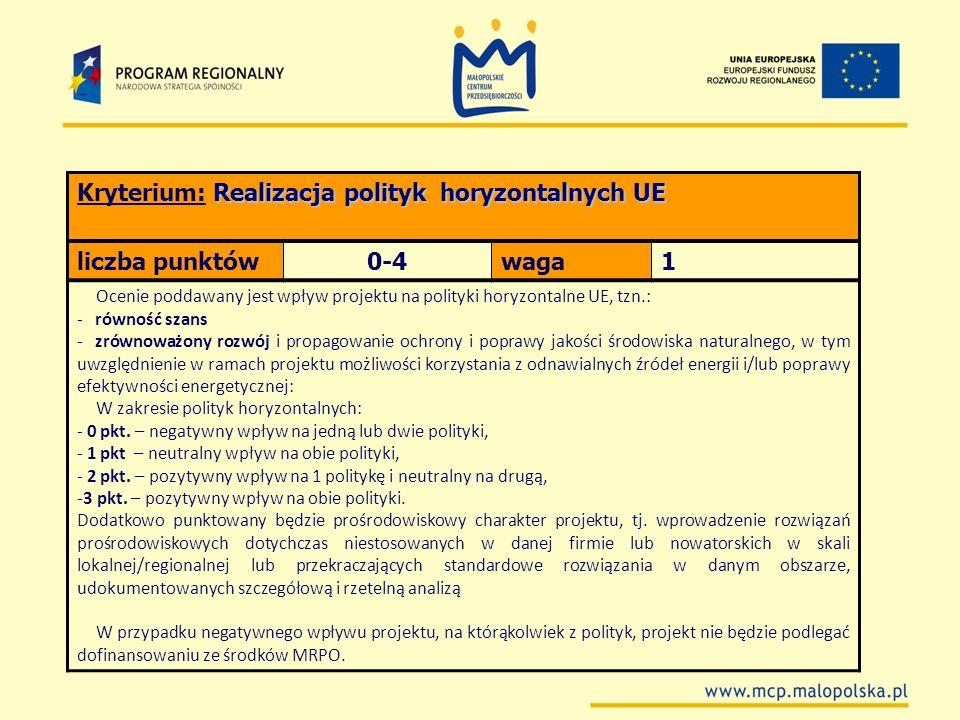 Kryterium: Realizacja polityk horyzontalnych UE liczba punktów 0-4