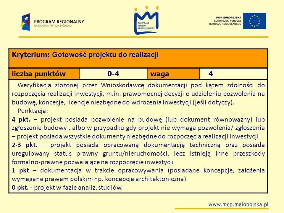 Kryterium: Gotowość projektu do realizacji