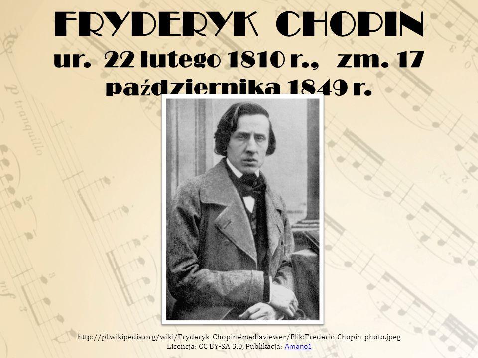 FRYDERYK CHOPIN ur. 22 lutego 1810 r., zm. 17 października 1849 r.
